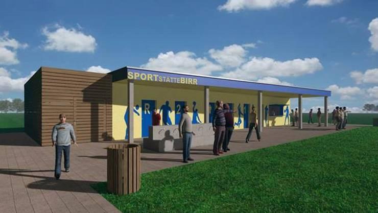 Die Visualisierung zeigt die geplante neue Sportstätte. Untergebracht werden in dieser zwei Garderoben sowie ein Vereinslokal. ZVG/J. + D. SCHATZMANN AG