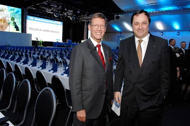 Sie kämpften noch erfolgreich für den Fortbestand der NAB: Die VR-Präsidenten Josef Bürge (l.) und Josef Meier, hier an der GV 2008, als Meier als Nachfolger von Bürge gewählt wurde.