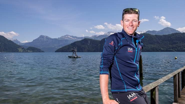 Die Idylle am Vierwaldstättersee trügt: Mathias Frank schlägt sich vor der Tour de Suisse mit einer Erkältung herum.