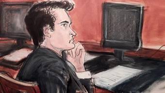 """Gerichtszeichnung von """"Silk Road""""-Gründer Ross Ulbricht. Er wurde zu Lebenslänglich verurteilt."""