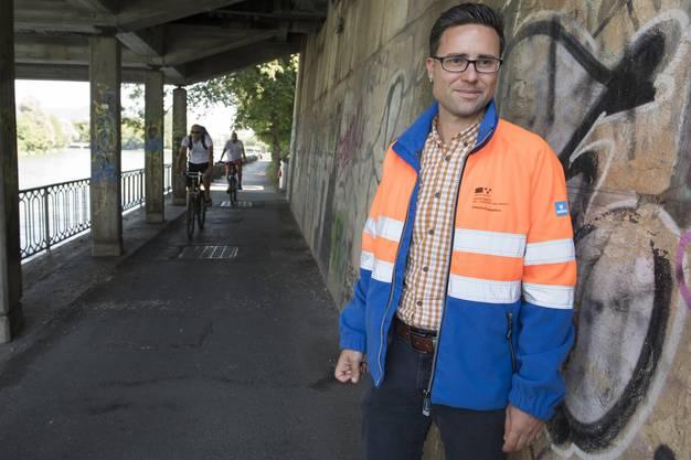 """Roberto Scappaticci, der Projektverantwortliche der """"Pont neuf"""" vom Baudepartement Kanton Aargau."""