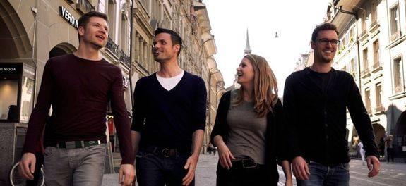 Die Gründer der Firma, Franziska, Geo, Jan, Simon.