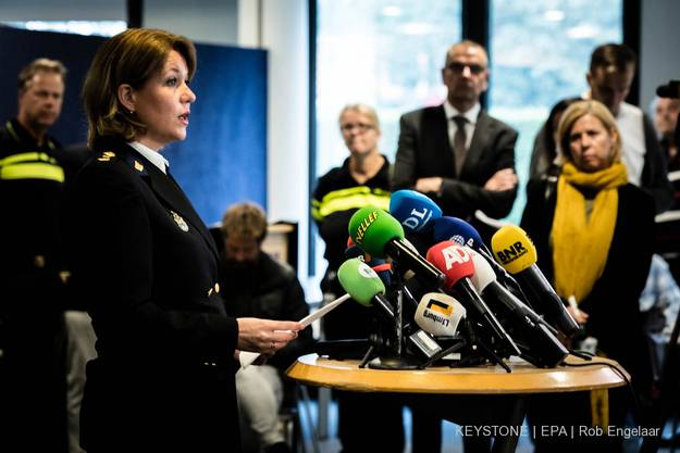 Die Polizeichef von Maastricht, Ingrid Schafer Poels, spricht am Tag der Festnahme zu den Medien.