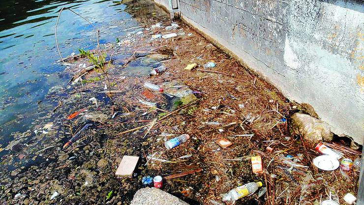 Verschmutzung:  Auch im Wasser liegt der Abfall. (Fotos: Alexander Winkler)