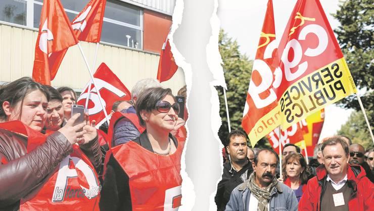 Die Gewerkschaften FO (links) und CGT (rechts): Die französische Linke ist sich nicht einig.
