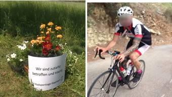 Die Unfallstelle in Böttstein mit der Blumenschale des OKs der Radsporttage Gippingen. Rechts der tödlich verunglückte Rennfahrer.