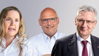 Nationalrätin Martina Bircher verzichtet auf eine Kandidatur. Ist jetzt  der Weg frei für eine Kampfwahl zwischen den Nationalräten Andreas Glarner (rechts) und Alfred Heer?