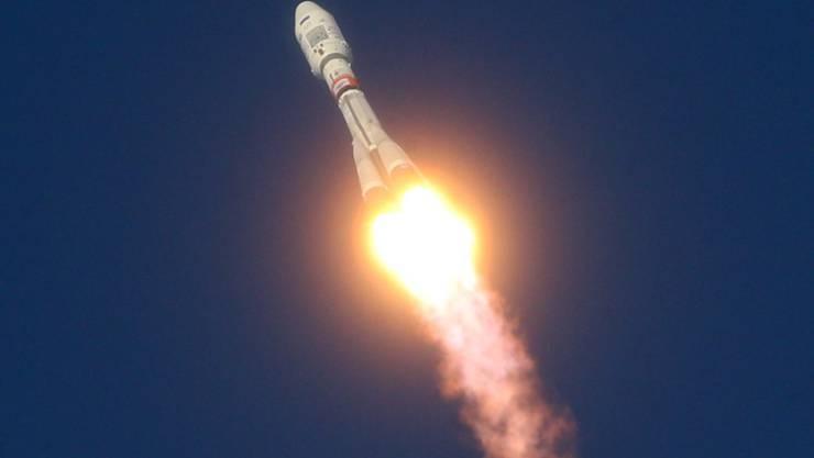 Die Sojus-Rakete am Dienstag beim Start.