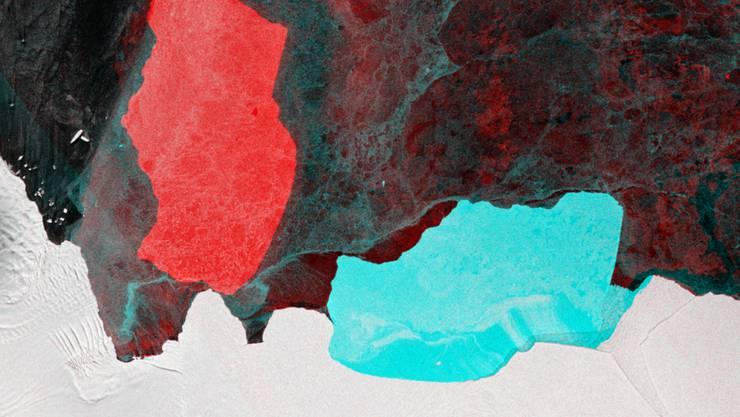 Der Eisberg D28 hat sich um 90 Grad gedreht. (Blau, alte Position; rot, neue Position.)