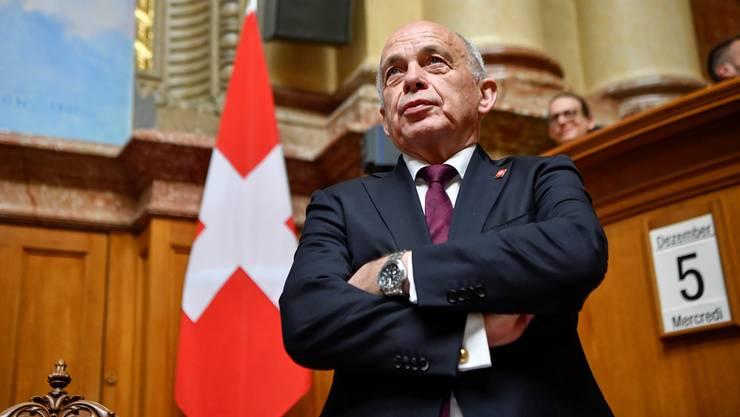 Nimmt er sein letztes Jahr als Bundesrat in Angriff? Ueli Maurer (SVP), mit 201 Stimmen glänzend gewählter Bundespräsident 2019.