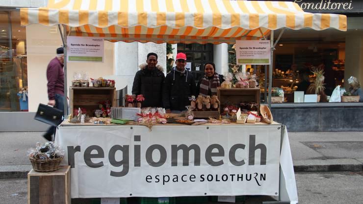 Marktstand der Regiomech am Wochenmarkt in Solothurn