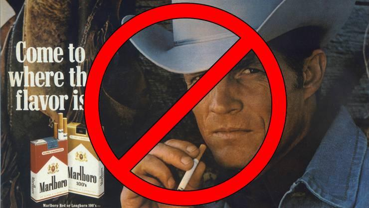 Soll mittels Volksinitiative verboten werden: Tabakwerbung, wie sie auch Marlboro mit Eric Lawson (†) gemacht hatte.