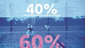 Kostenaufteilung im Schwimmbad Aarau: 40 Prozent werden durch Eintrittspreise gedeckt, 60 Prozent durch die Stadt.
