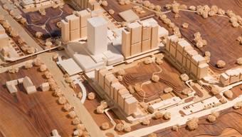 So sieht das Modell des geplanten Wohnturms in der Liebrüti in Kaiseraugst aus.zvg