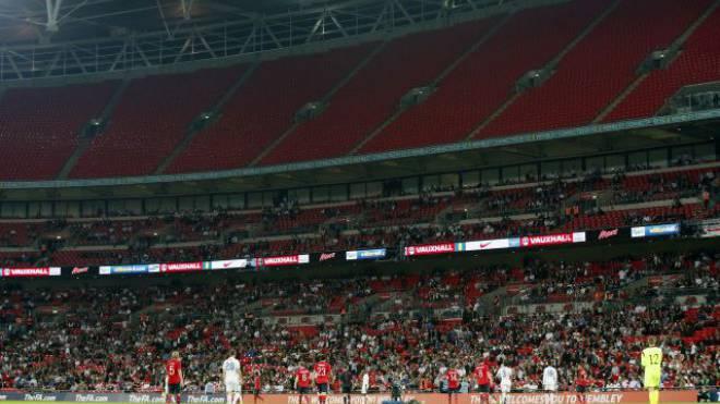 Keine Lust mehr. Leere Sitze im Wembley beim Testspiel gegen Norwegen sind Abbild für die Gefühlslage der englischen Fans. Foto: Alastair Grant/Keystone