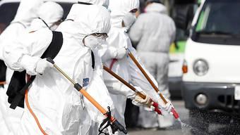 Südkoreanische Arbeiter sprühen Desinfektionsmittel in den Strassen von Gwangju. Die Weltbank stellt Soforthilfe im Kampf gegen das sich rasch ausbreitende Coronavirus bereit. (Foto: Shin Dae-hee/AP Keystone-SDA)