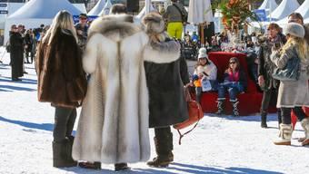 Am White Turf in St. Moritz trifft man viel Pelz an.