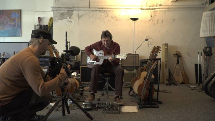 Dreharbeiten in Max Lässers Studio in Baden.