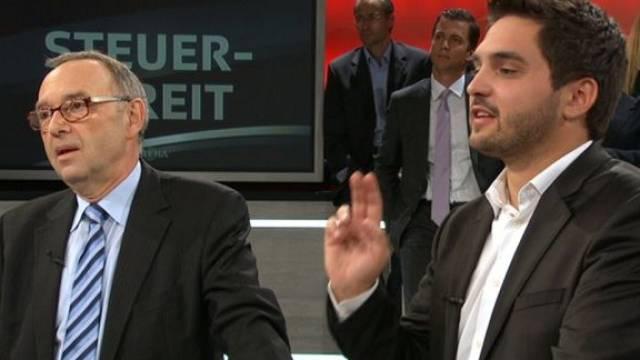 Grenzüberschreitende rot-rote Allianz: In der «Arena» flankierte SP-Nationalrat Cédric Wermuth (r.) den SPD-Mann Norbert Walter-Borjans. Foto: sf