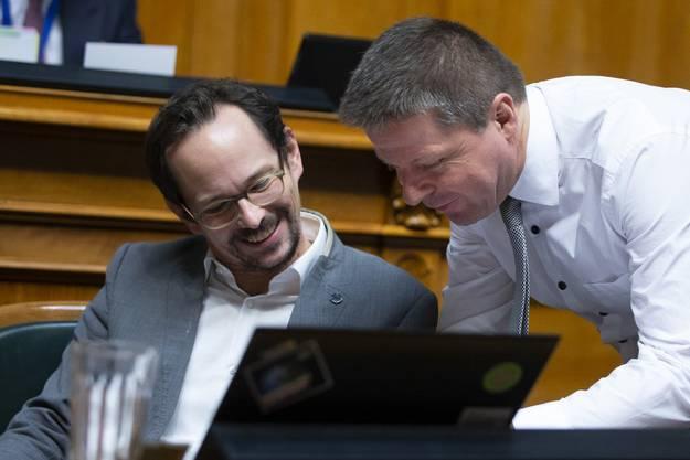 Martin Bäumle (rechts) und der heutige Grünen-Präsident Balthasar Glättli: Ein Streit zwischen den beiden führte 2004 zur Gründung der GLP. Inzwischen verstehen sie sich wieder gut.