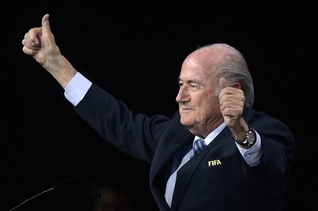 Sepp Blatter nach der Aufgabe von Prinz Ali: «Er war ein guter Kandidat. Aber nun bin ich der Präsident von allen.»