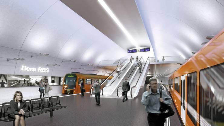 Der neue Tiefbahnhof des Regionalverkehrs Bern-Solothurn (RBS) wird 522 Millionen Franken kosten. Die Perrons werden statt bisher 4,50 Meter 12 Meter breit sein.