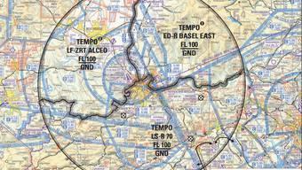Rund um das Zentrum von Basel ist der Flugverkehr über schweizerischem Hoheitsgebiet eingeschränkt.
