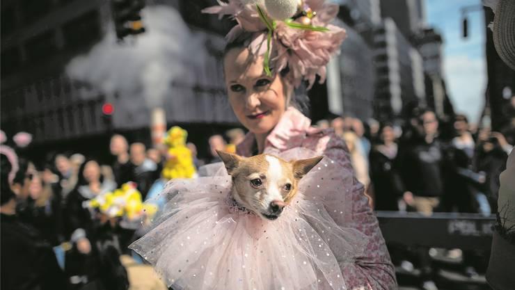 Menschen leisten sich immer mehr Aufwand für ihre Tiere: Halterin mit Hund an der New Yorker Osterparade.