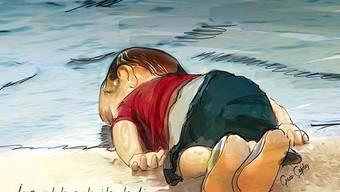 Bilder eines toten dreijährigen Flüchtlingsbuben aus Syrien, der nach dem Untergang eines Flüchtlingsboots an einen türkischen Strand gespült wurde, sorgen für grosse Bestürzung.