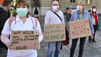 Pflegepersonal und Gewerkschaften demonstrieren unter anderem für eine «Corona-Prämie».