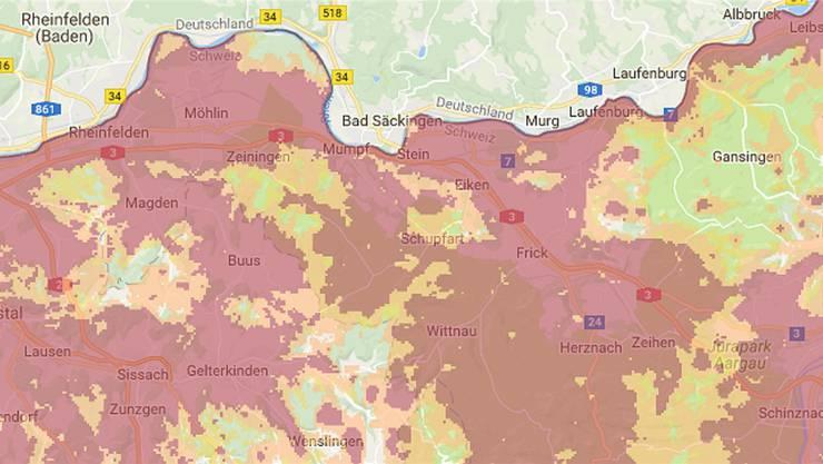 Die Abdeckung mit dem mobilen Internet 4G (rot) und 3G (orange) von Salt weist im Fricktal noch Lücken auf. Das soll sich ändern.Google Maps/Salt