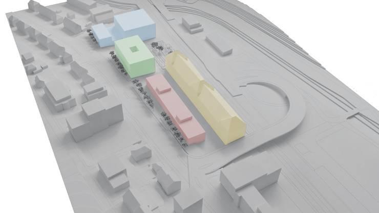 Das Usego Gebäude (gelb) bekommt Nachbarn: dreigeschossiger Baukörper, 10 m verkürzt (rot), das Wohn- und Pflegezentrum (grün) und der Komplex mit Mischnutzung (blau).