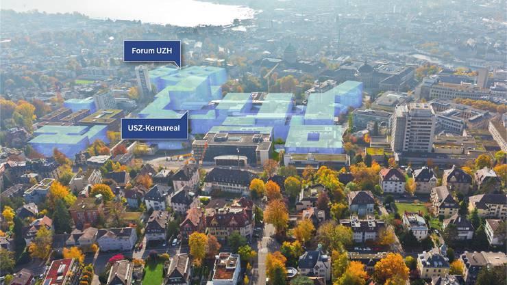 Umstrittenes Grossprojekt: Vom neuen Hochschulquartier sind bis jetzt erst die maximalen baulichen Umrisse bekannt. Visualisierung zvg/Baudirektion Kanton Zürich