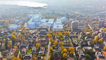 So soll das zukünftige Hochschulgebiet Zentrum Zürich aus der Luft aussehen.