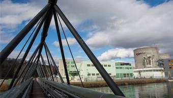Die Refuna-Leitung (vorne) führt von der Beznau-Insel über die Brücke. (Archiv)