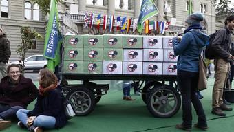 """Die Jungen Grünen und andere Unterstützer haben die Zersiedelungsinitiative mit 135'000 Unterschriften eingereicht. Den Bundesplatz verwandelten sie am Freitag mit Rasen und Bäumen kurzzeitig in eine """"grüne Oase""""."""