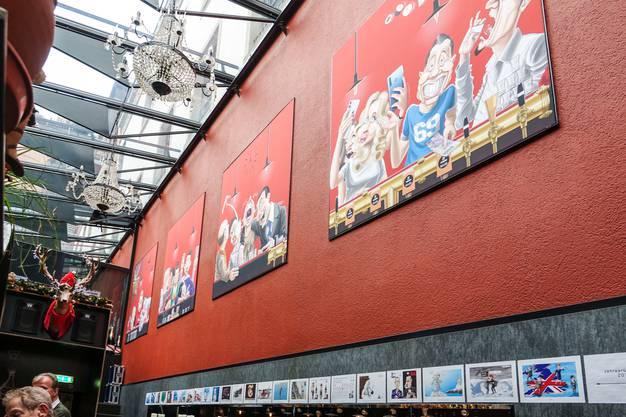 Der Cartoon von Silvan Wegmann wird die nächsten paar Jahre die Wand vis-à-vis der Bar im Badener Lokal 'Hirschli' zieren (Bild ub)
