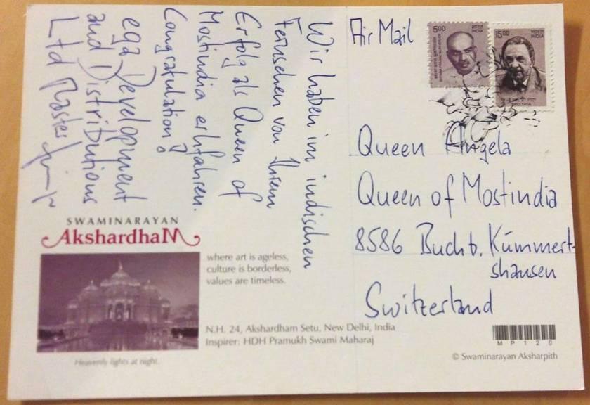 Diese Karte hat Apfelkönigin Angela Stocker aus Indien bekommen. zVg