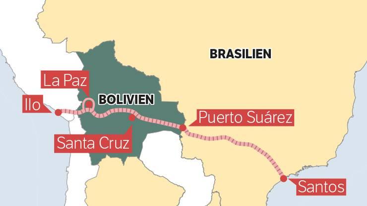 Der bolivianische Präsident Evo Morales will eine Eisenbahn bauen, welche die beiden Ozeane verbindet: «tren bioceánico» soll er heissen und in Puerto Santos, Brasilien, starten, Bolivien durchqueren und in Peru in der Hafenstadt Ilo enden.
