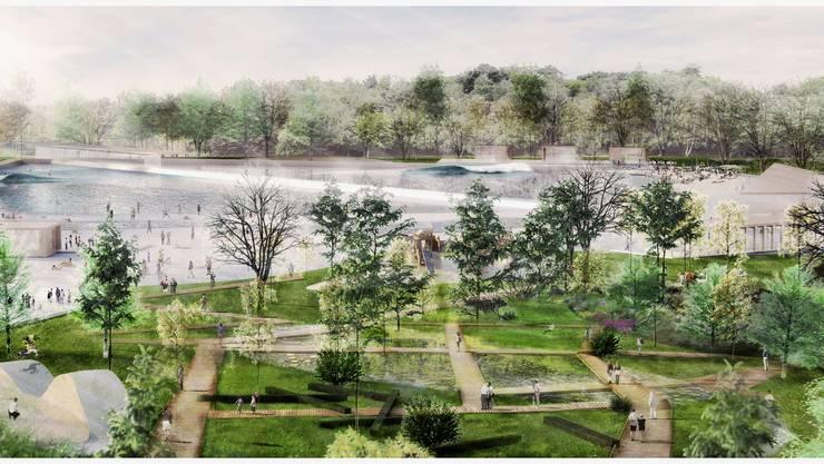 Der insgesamt 1500 Quadratmeter grosse separate See beinhaltet einen Schwimmbereich à 750 Quadratmeter.