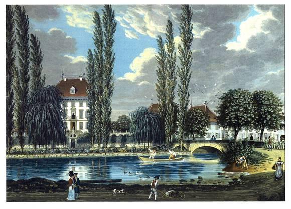 Früher: Die Gouache von Johann Wilhelm Heim entstand vor 1850. Vor der prächtigen Gartenanlage ist der Aabach zu sehen.