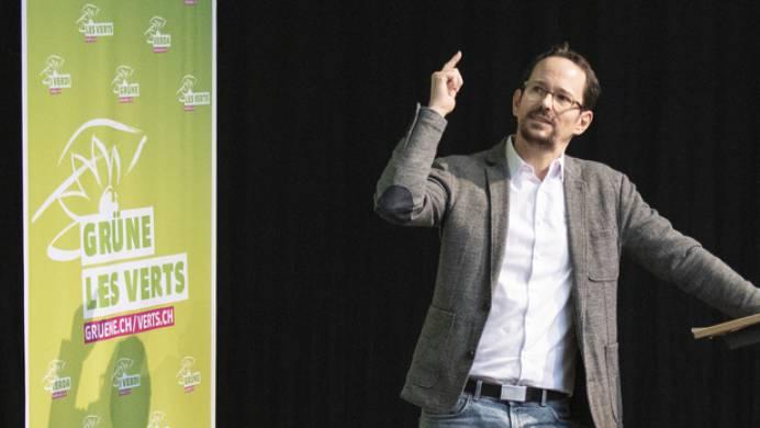 Nationalrat und Fraktionschef Balthasar Glättli an der Delegiertenversammlung der Grünen am Samstag, kurz bevor er den Medien seine Kandidatur für die Präsidentschaft bekannt gab. (Archivbild)