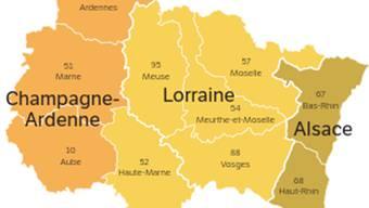 Die Regionen Champagne-Ardenne, Lothringen und Elsass wurden am 1. Januar 2016 fusioniert.