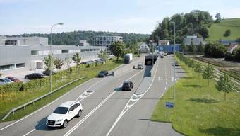 Projekt A1-Autobahnzubringer beim Knoten Neuhof mit Tunnel Richtung Bünztal.