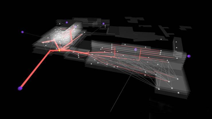 Dies ist eine dreidimensionale Darstellung des Universitätsspitals Basel, die violetten Punkte symbolisieren die Eingänge, grau die allgemeinen Patientenbewegungen zwischen den Abteilungen (graue Punkte). Der gelbe Punkt markiert die Notfallabteilung, Rot zeigt auf, wohin die Patienten gehen, wenn sie die Notfallabteilung verlassen.