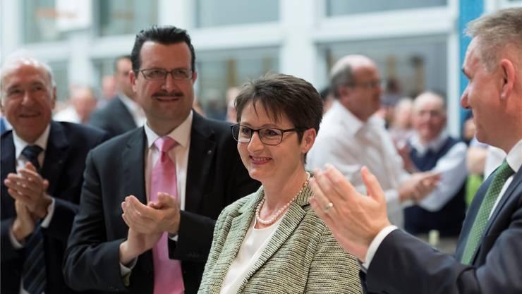 Bei der Nomination von Franziska Roth klatschte Alex Hürzeler (rechts), für die schulpolitischen Forderungen seiner Parteikollegin gibt es keinen Applaus. ASP