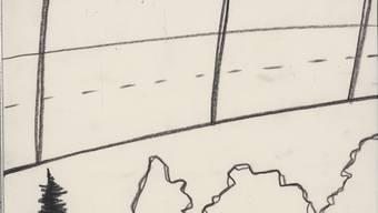 Die Zeichnerin Silvia Bächli setzt keine Titel. Verlassene Landstrasse würde für dieses Landschäftchen von 1997 wohl passen.