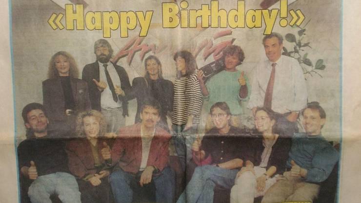 Erstmals gabs 1991 etwas zu feiern: Radio Argovia wurde ein Jahr alt. Der typische 80er-Look scheint beim Gründungsteam hoch im Schwange gewesen zu sein.