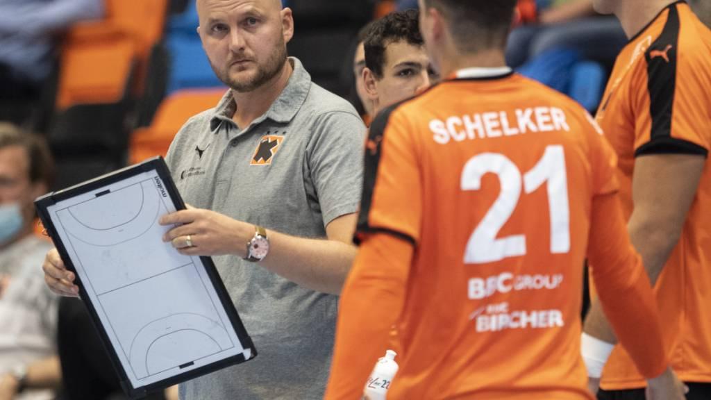 Kadetten-Coach Adalsteinn Eyjolfsson darf eine gelungene Hauptprobe für den Europacup-Auftakt auf seinem Spielbrett notieren