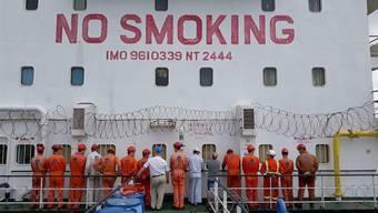Illegaler Erdölhandel? Die 16 ukrainischen Seeleute, die im Januar 2018 auf dem Schweizer Tanker von den nigerianischen Behörden festgesetzt wurden.